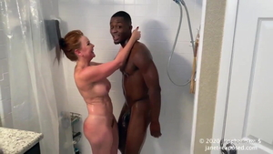 Young mature Janet Mason kissing each other in shower in HD