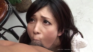 Hairy japanese brunette cumshot outdoors