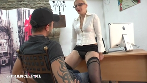 French in tight stockings strapon in office