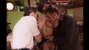 Sweet brunette reality group sex in bar