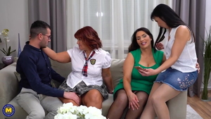 Group sex among busty cougar Josephine James