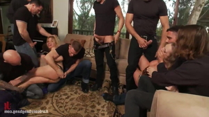 Brutal gangbang in company with Vicky Vixen and Andrea Acosta