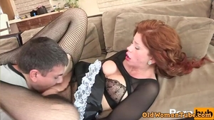 Loud sex alongside large tits redhead
