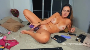 Ramming hard in company with pretty latina amateur