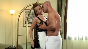 Maid Cindy Dollar wearing panties got her pussy pounded