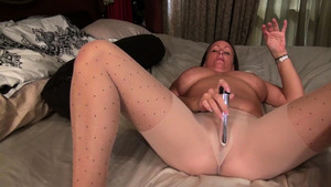 Super hot Anna Moore fun with toys in nylon