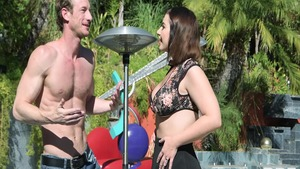 Big tits Ivy Lebelle and Ryan Mclane dick sucking in the pool